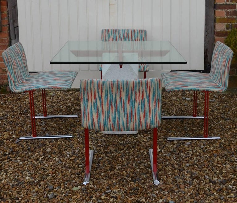 Giovanni Offredi for Saporiti Paracarro Dining Table and Four Inlay Chairs In Good Condition For Sale In London, Greater London