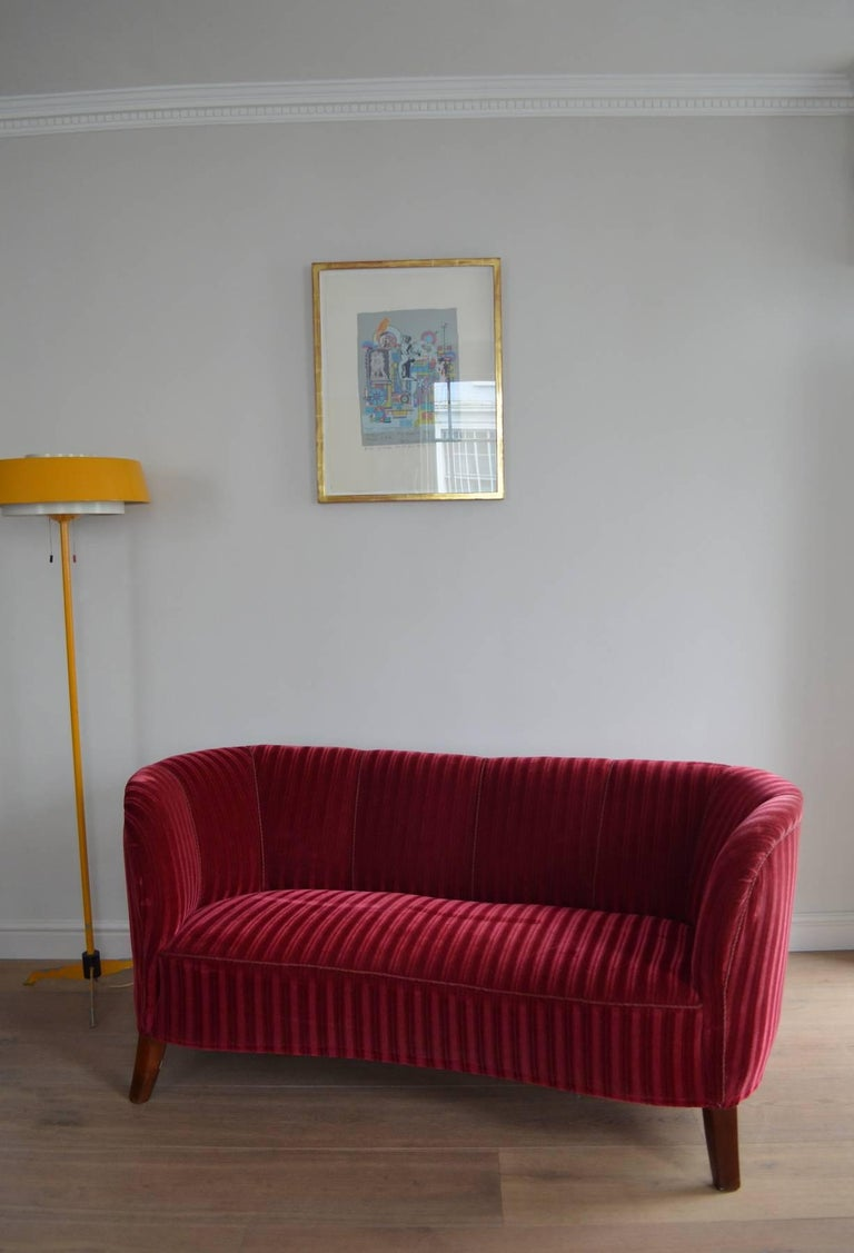 Danish 1930s-Early 1940s Art Deco Banana Form Red Velvet Sofa at 1stdibs