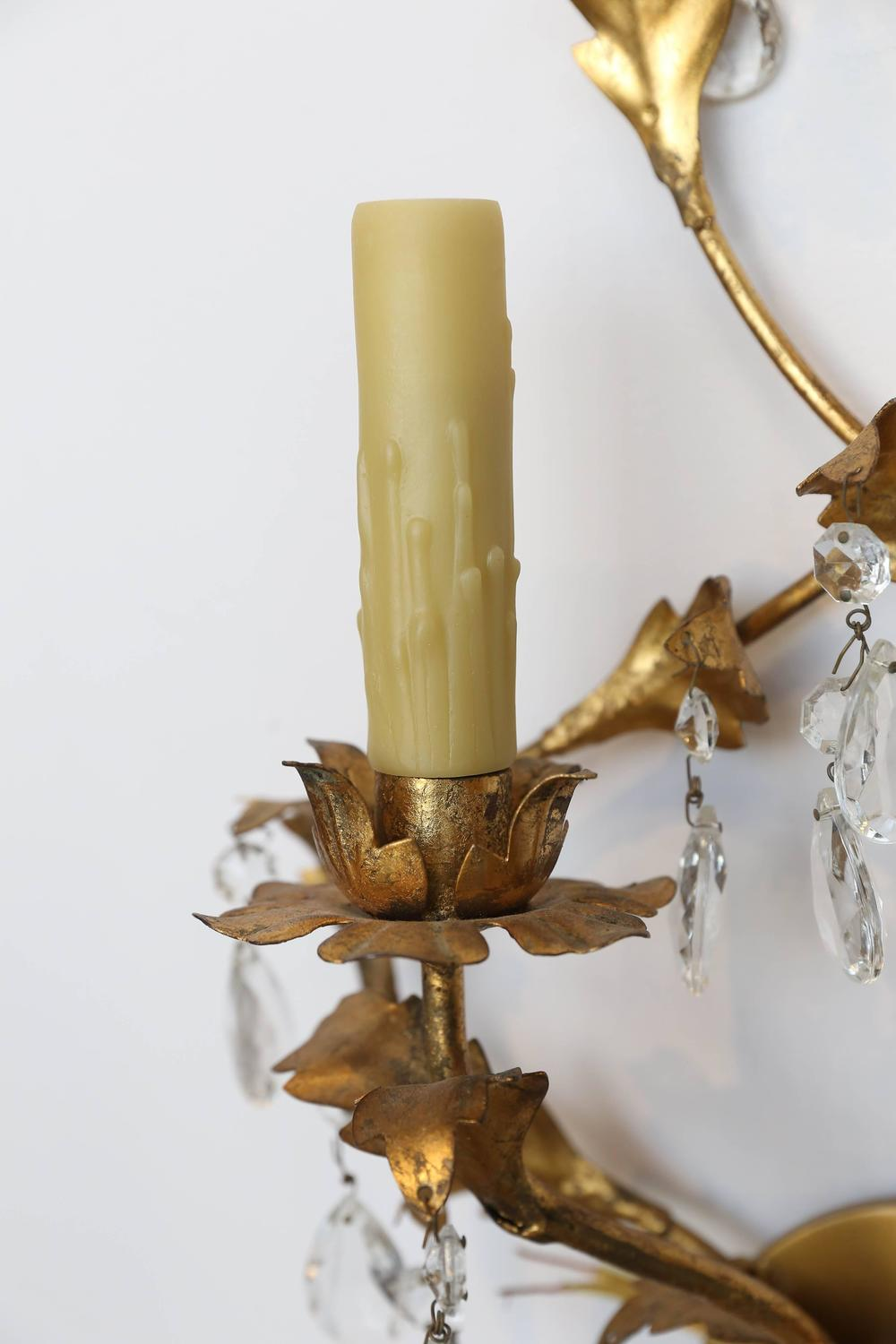 Pair of 1960s Gold Leaf Two-Light Sconces at 1stdibs