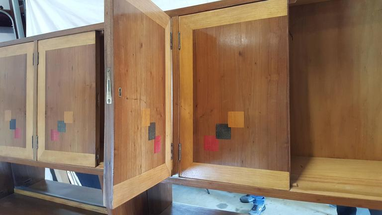 Stained Mid-Century Walnut Case Piece or Headboard, style of Ico Parisi For Sale