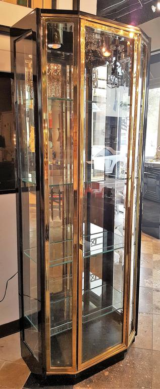 Pair of Mid-Century Brass and Lacquer Display Cabinets by Henredon 2