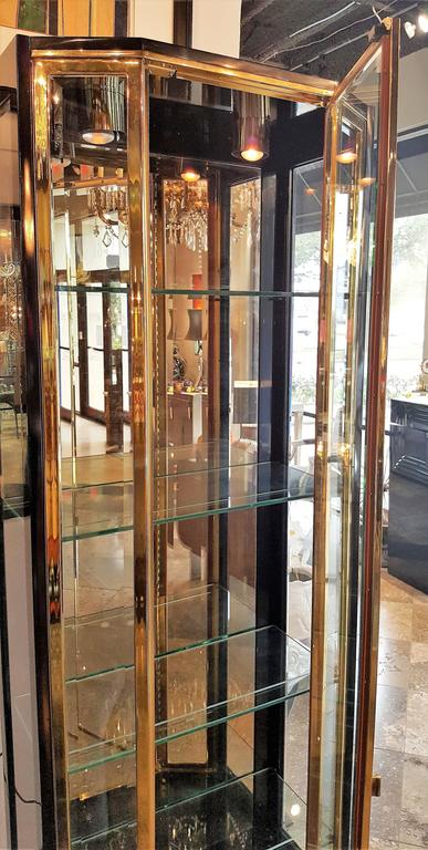 Pair of Mid-Century Brass and Lacquer Display Cabinets by Henredon 5
