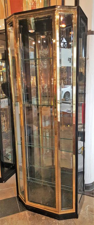 Pair of Mid-Century Brass and Lacquer Display Cabinets by Henredon 3