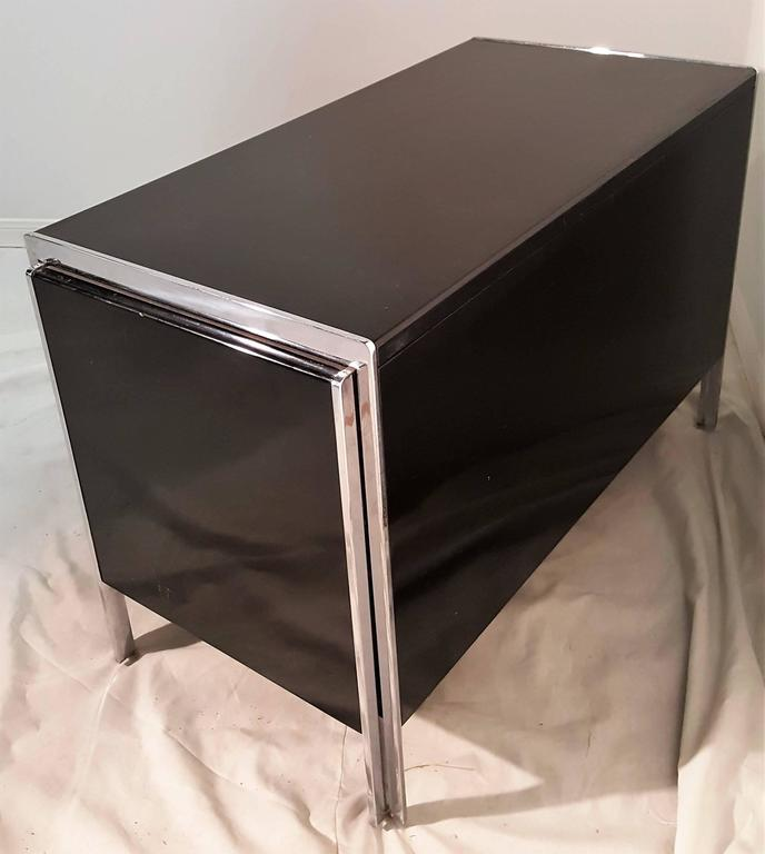 Polished Pair of Stow Davis Lacquer and Chrome Side Table and or Cabinet For Sale