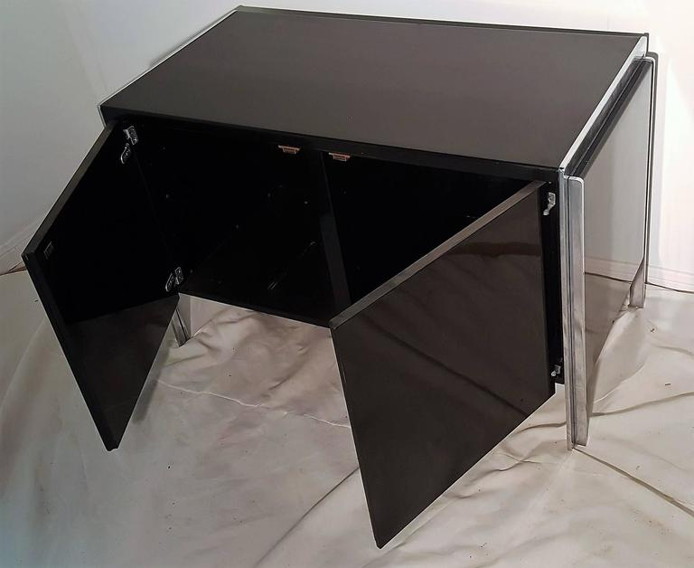 Pair of Stow Davis Lacquer and Chrome Side Table and or Cabinet In Fair Condition For Sale In Houston, TX