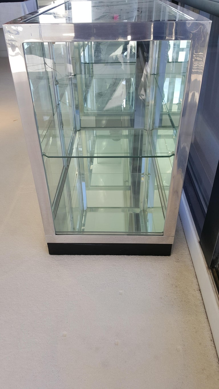 Chrome Pair of Pace Collection Low Vitrines or Cabinets For Sale