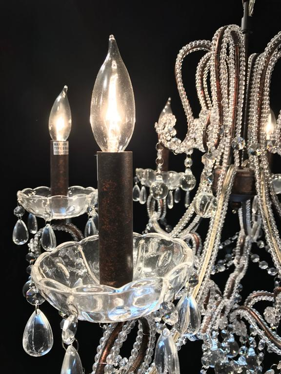 20th Century Italian Cut Glass Beaded Chandelier For Sale