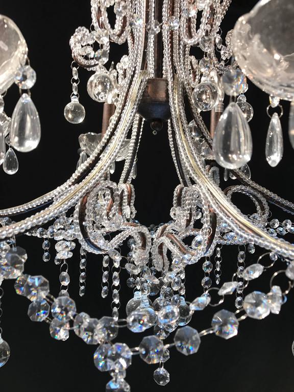 20th Century Italian Cut Glass Beaded Chandelier For Sale