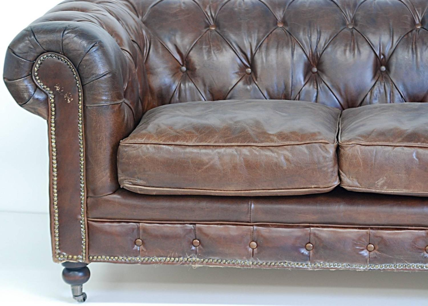 Chesterfield style leather loveseat at 1stdibs for Z furniture philadelphia