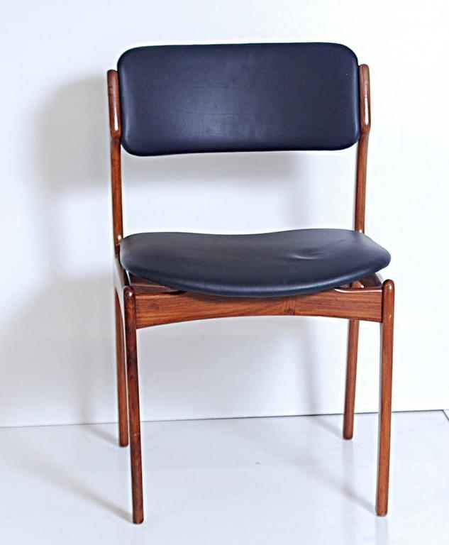set of six danish modern rosewood dining chairs by