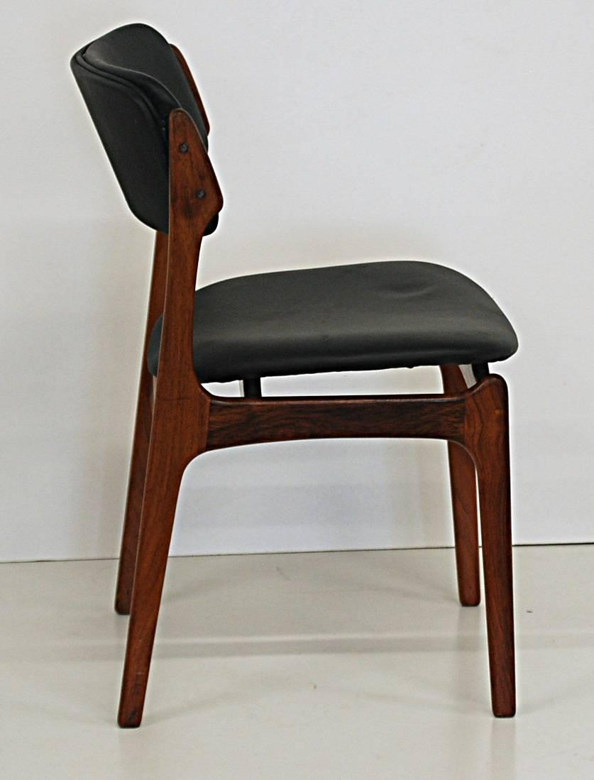Set of six danish modern rosewood dining chairs by for Danish dining room chairs