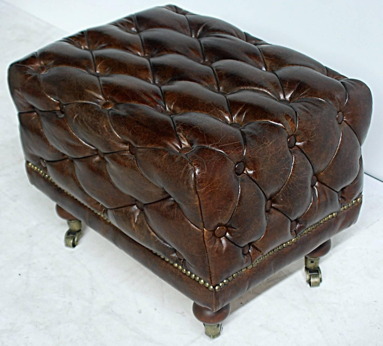 Pair of chesterfield style tufted leather stools for sale for Decor jewelry chesterfield