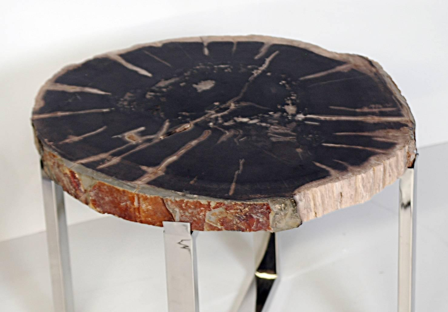 Petrified wood tables with chromed stainless steel bases for Petrified wood furniture for sale