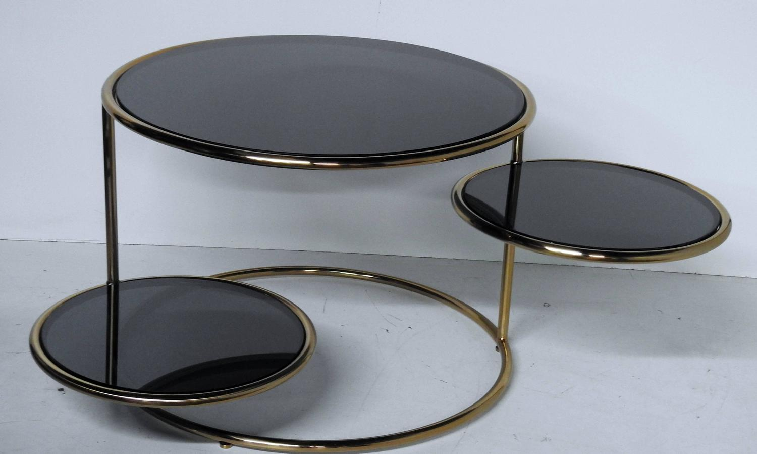 Modern Design Coffee Table With Black Glass Inserts For Sale At 1stdibs