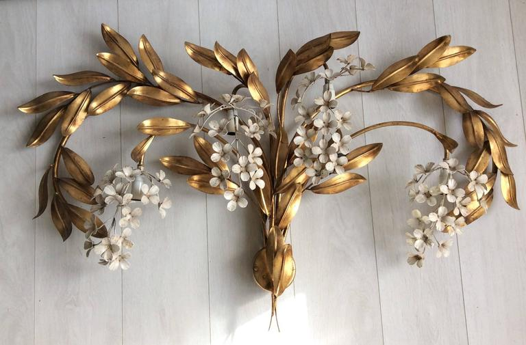 Large Flower Wall Sconces : Large Italian Wisteria Flower Wall Sconce at 1stdibs