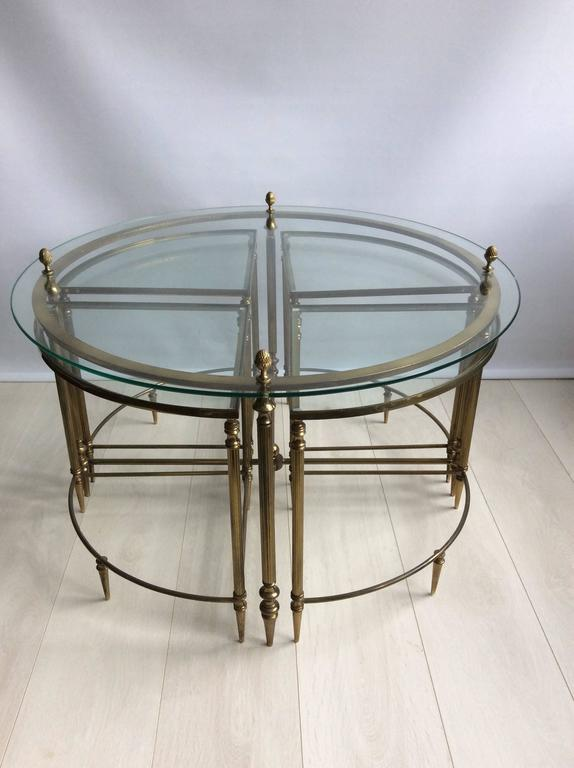 circular french brass glass coffee table with nest at 1stdibs