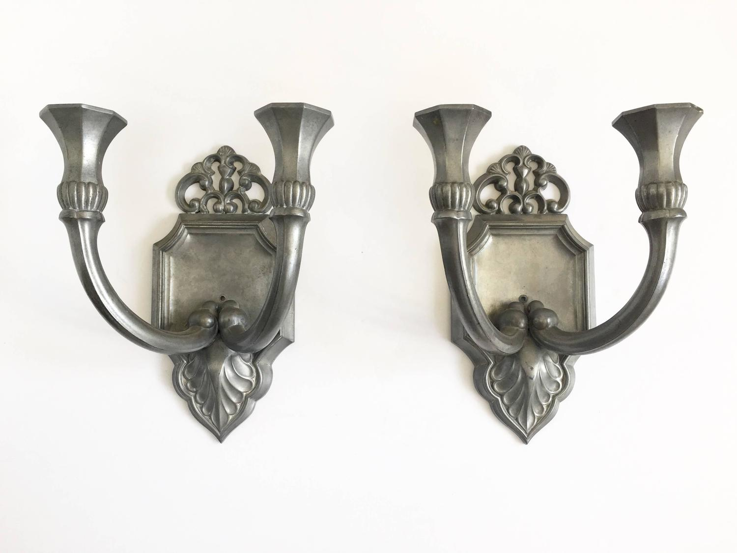 Pair of Just Andersen Pewter Candle Sconces, Signed For Sale at 1stdibs