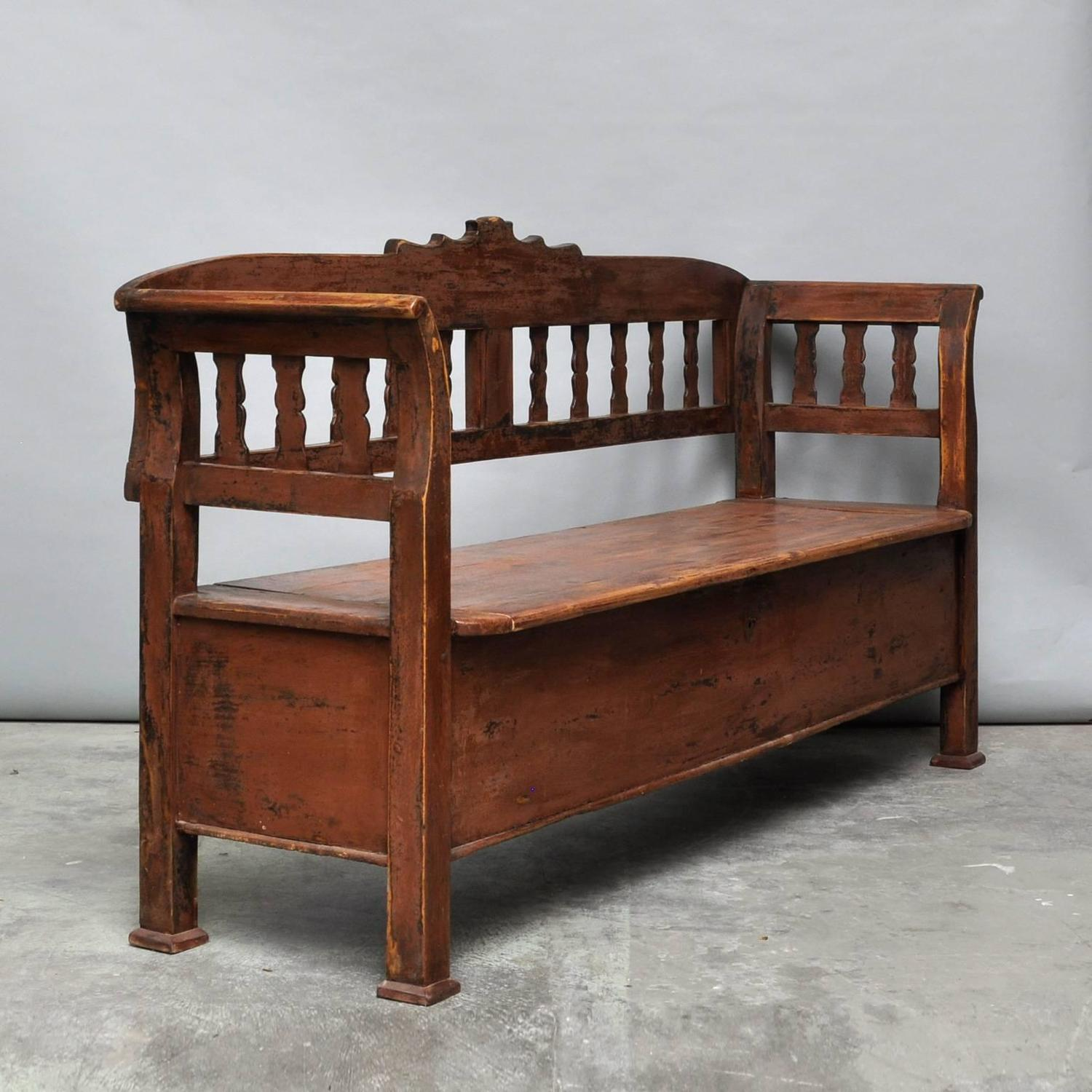 antique storage bench with original paint circa 1920 for