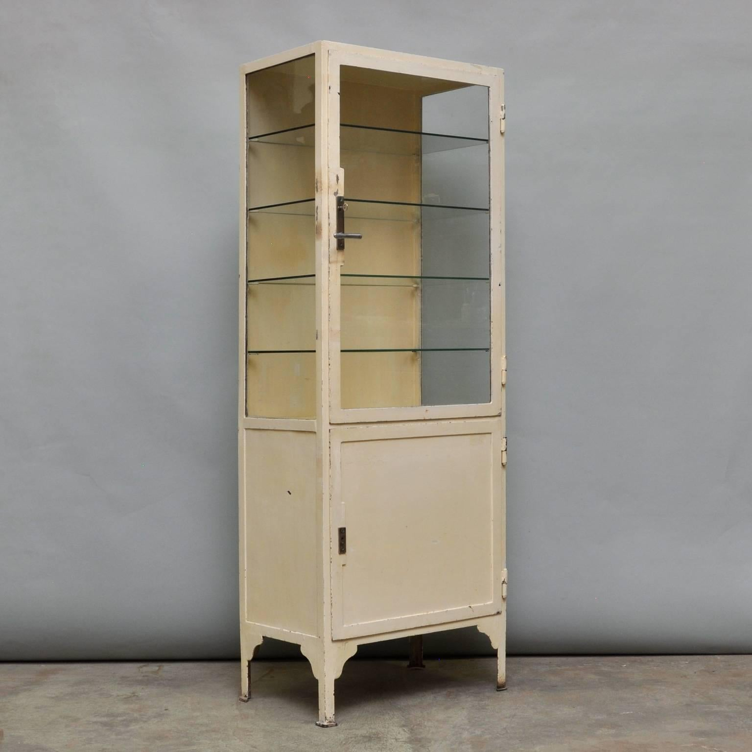 Industrial Vintage Iron And Glass Medicine Cabinet, 1940s For Sale