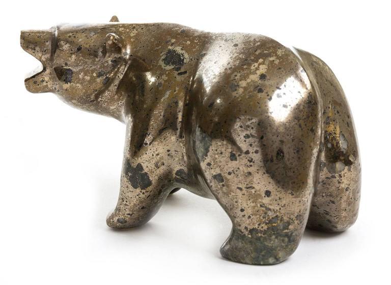 Polar Bear Sculpture In Hematite Art Deco Style At 1stdibs