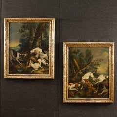 18th Century Pair of Hunting Scene Paintings Oil on Canvas