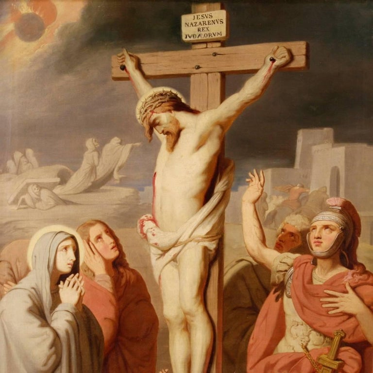 19th century french religious painting crucifixion for. Black Bedroom Furniture Sets. Home Design Ideas