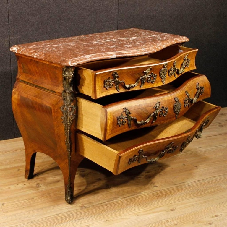20th Century French Chest of Drawers with Marble Top in Louis XV Style 10