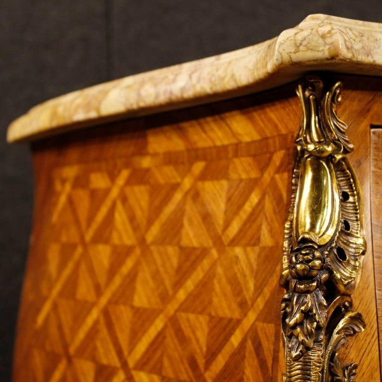 Inlay French Inlaid Dresser in Rosewood with Marble Top Louis XV Style, 20th Century For Sale