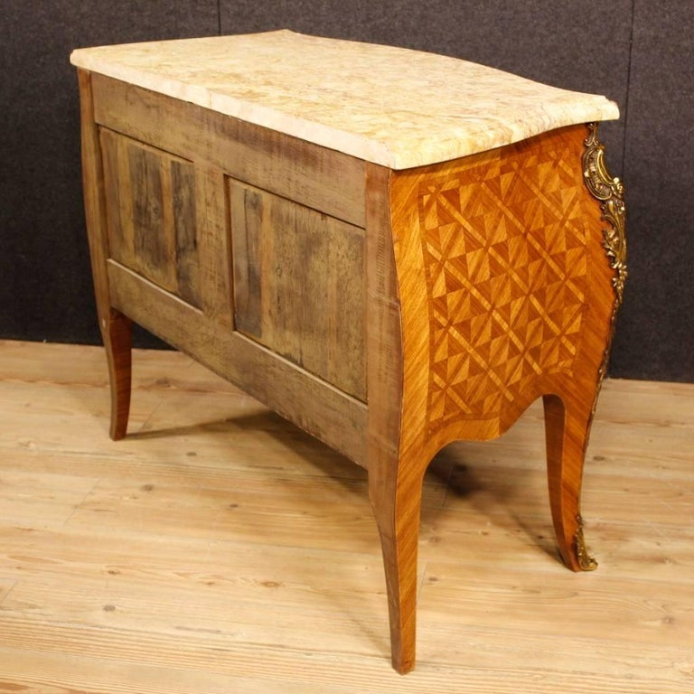 French Inlaid Dresser in Rosewood with Marble Top Louis XV Style, 20th Century For Sale 4