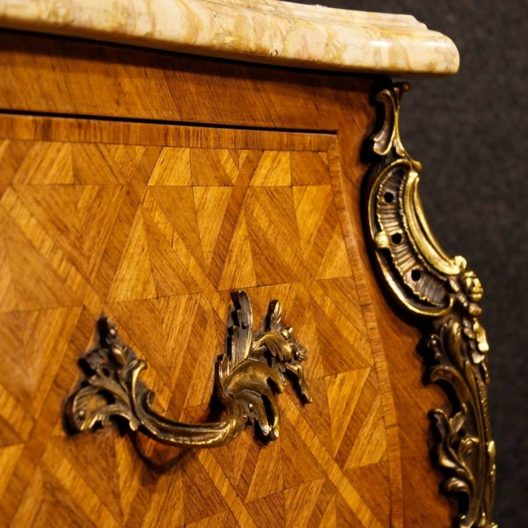 French Inlaid Dresser in Rosewood with Marble Top Louis XV Style, 20th Century For Sale 1