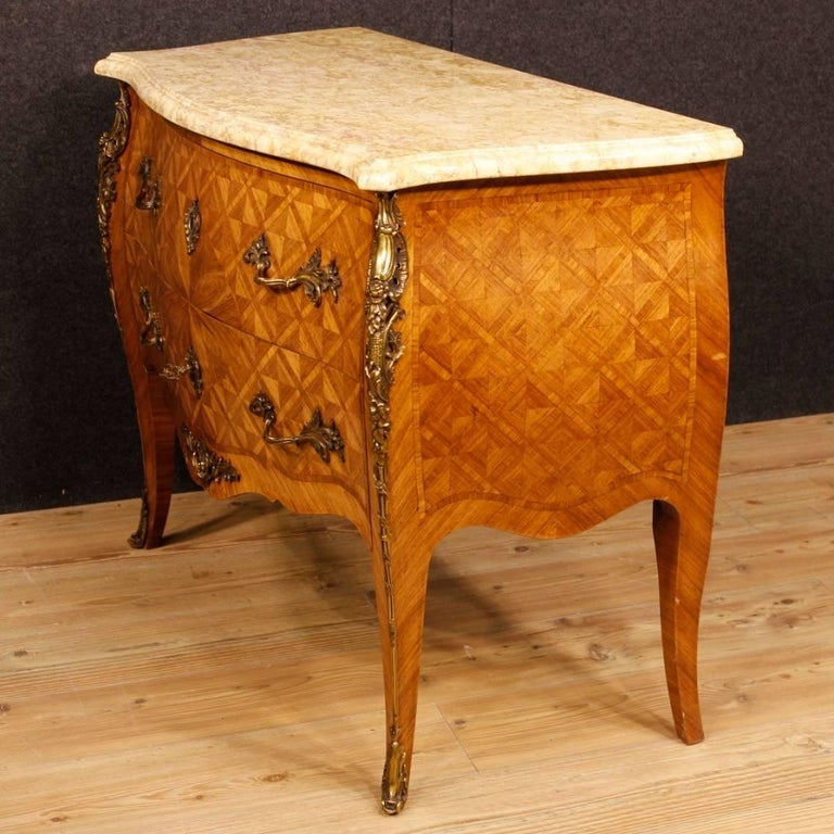 French Inlaid Dresser in Rosewood with Marble Top Louis XV Style, 20th Century For Sale 3