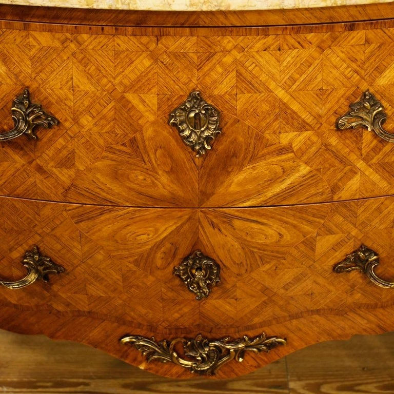French Inlaid Dresser in Rosewood with Marble Top Louis XV Style, 20th Century For Sale 5
