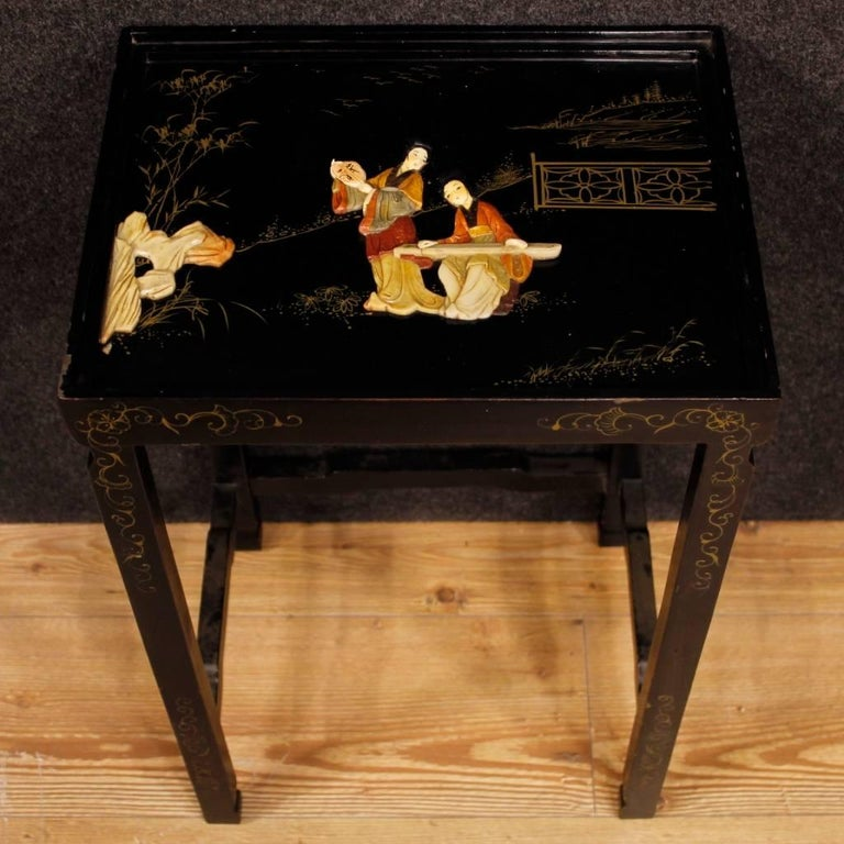 Set of Four French Black Side Tables in Lacquered Chinoiserie Wood, 20th Century For Sale 2