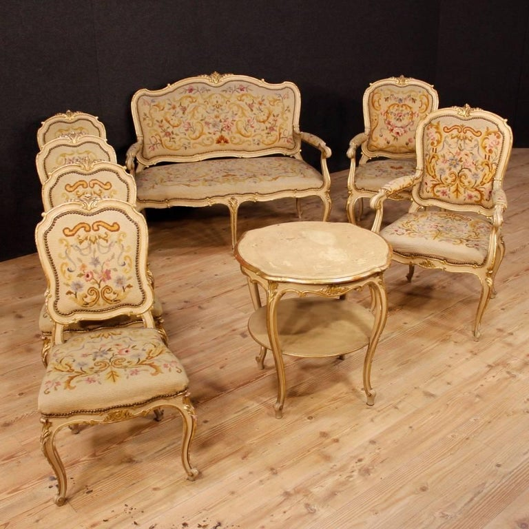 Pair Of Italian Lacquered And Gilt Armchairs In Louis Xv