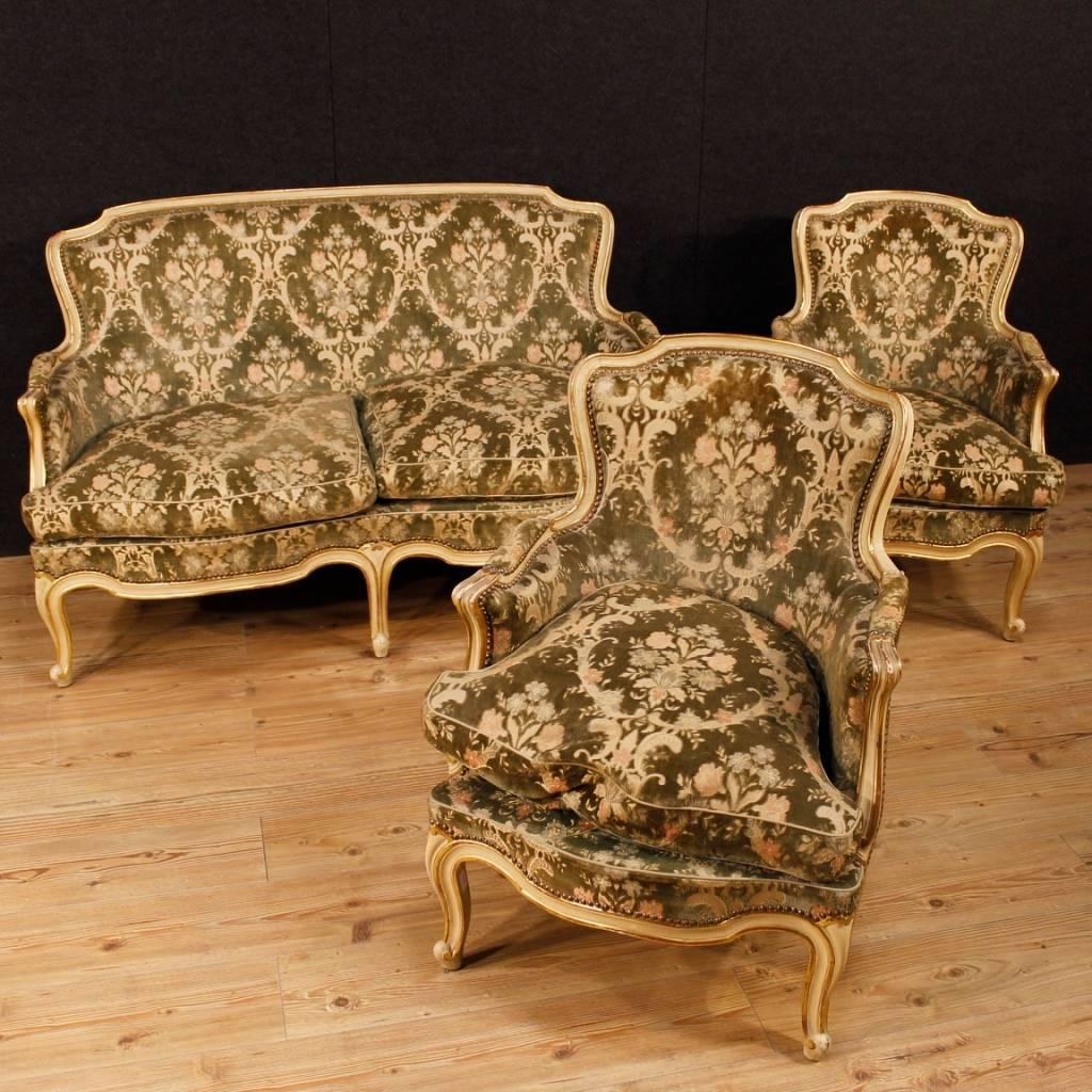 Italian Sofa Of The 20th Century. Furniture In Carved, Lacquered And Golden  Wood Of