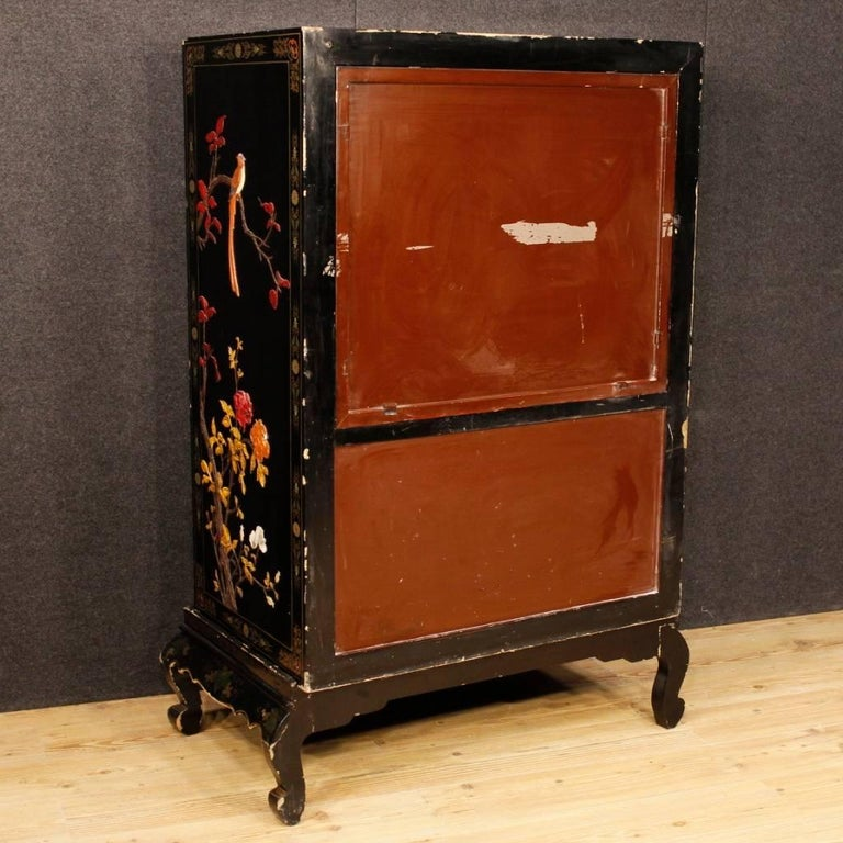 Soapstone French Chinoiserie Sideboard in Lacquered and Painted Wood from 20th Century For Sale