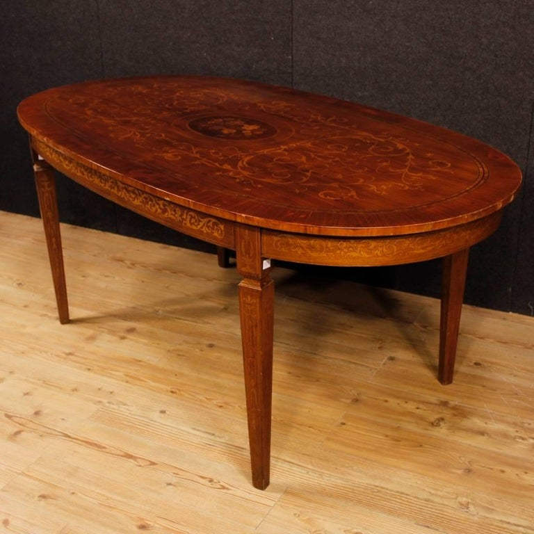 Italian Inlaid Dining Table In Wood Louis Xvi Style From