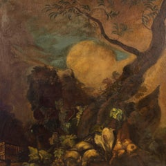20th Century Oil on Canvas Spanish Landscape with Bushmeat and Fruit Painting
