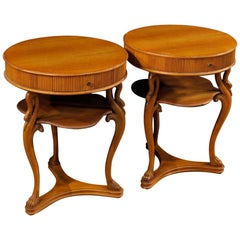 20th Century Round Wooden Italian Pair of Bedside Tables, 1950
