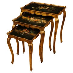20th Century Painted and Gilded Wood Italian Set of 3 Coffee Tables, 1970