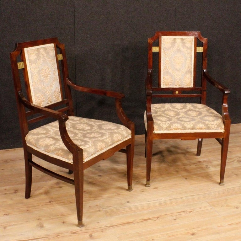 Mid-20th Century 20th Century Mahogany Wood French Art Deco Pair of Armchairs, 1930 For Sale