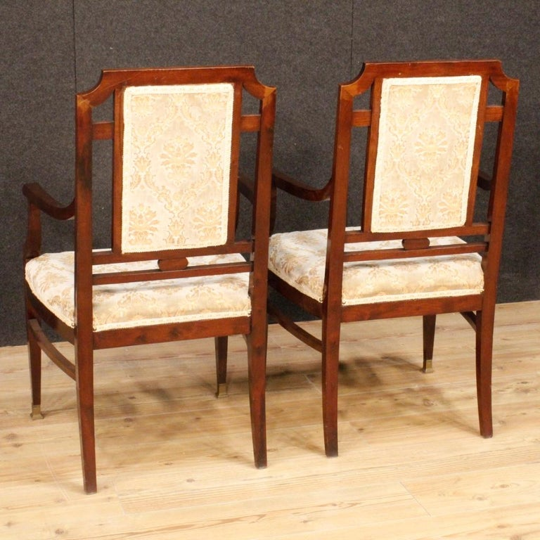 20th Century Mahogany Wood French Art Deco Pair of Armchairs, 1930 For Sale 3