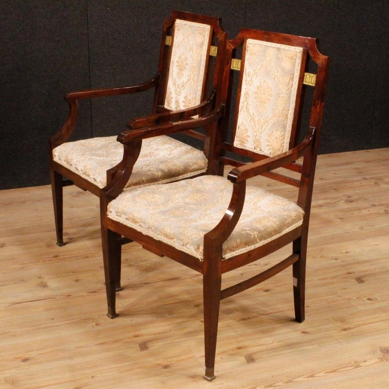 20th Century Mahogany Wood French Art Deco Pair of Armchairs, 1930 For Sale 4