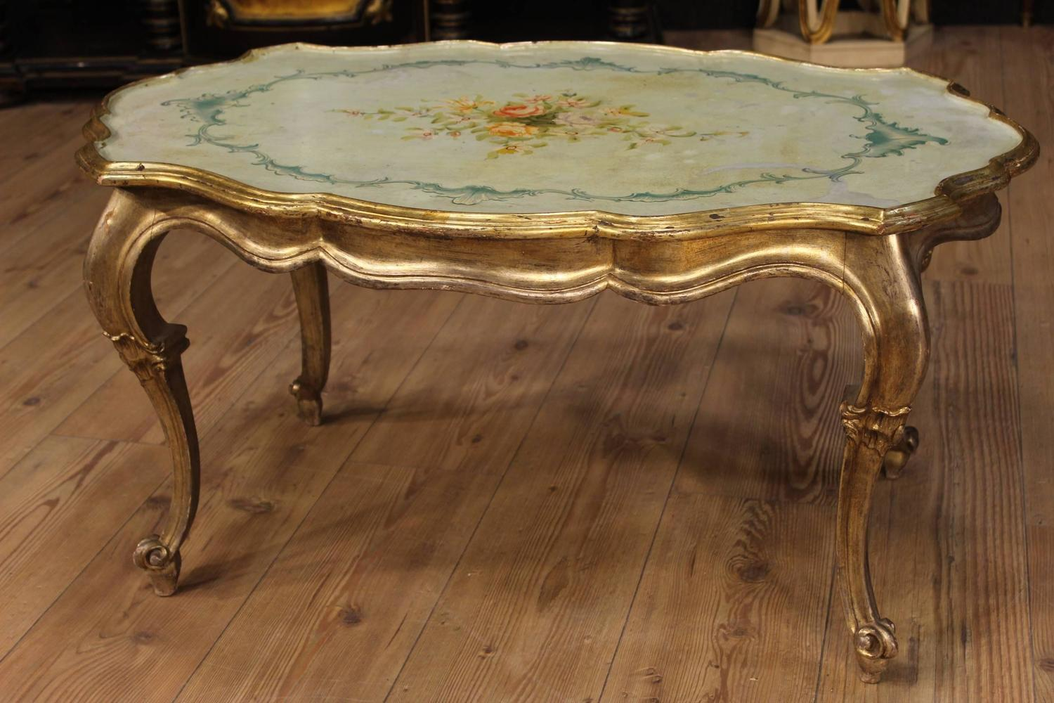 20th Century Lacquered Hand Painted And Silvered Coffee Table For Sale At 1stdibs