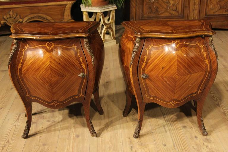 20th Century Inlaid Rosewood Bedside Tables Nightstands At