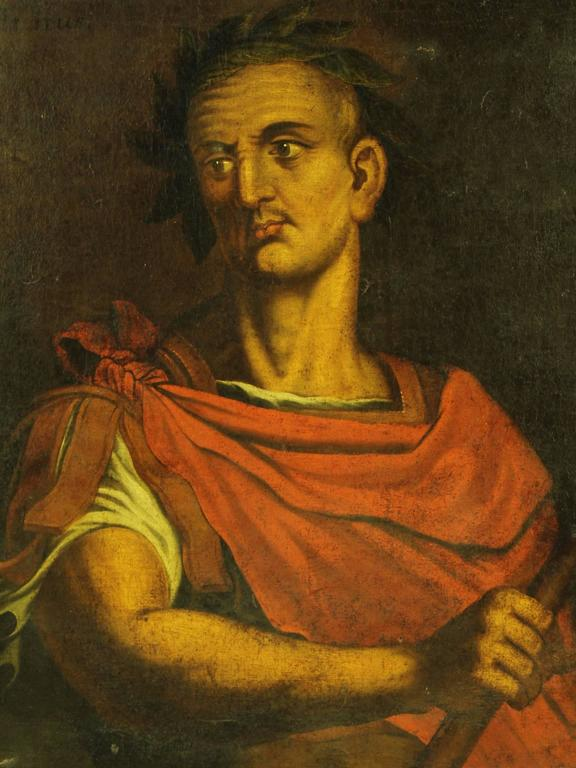 18th Century Oil On Canvas Painting Of Julius Caesar At