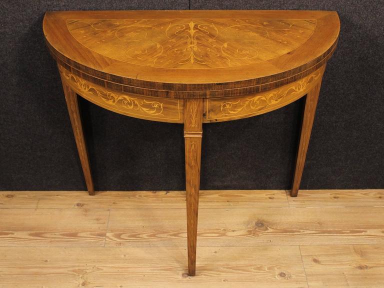 20th century italian inlaid half moon table at 1stdibs for 1 2 moon table