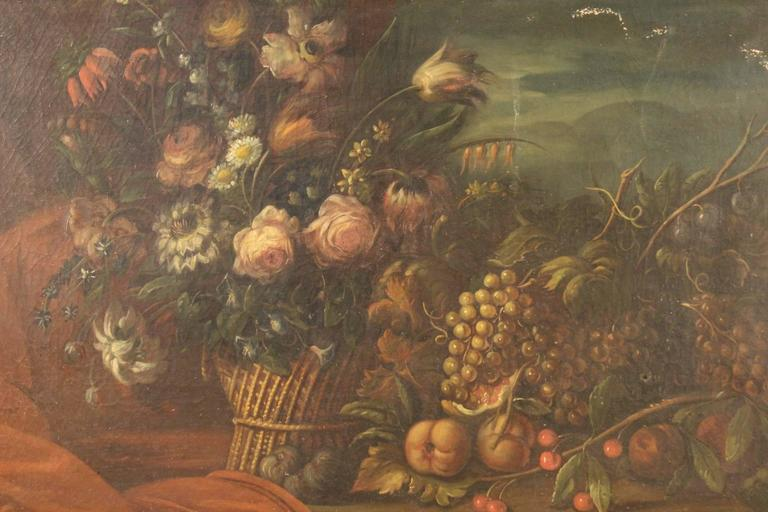 Ancient French painting of the late 19th century. Work oil on canvas depicting pleasant still life with flowers and fruit of great size and impact. Painting of good painting hand and fabulous decor with wooden carved, gilded and painted frame with
