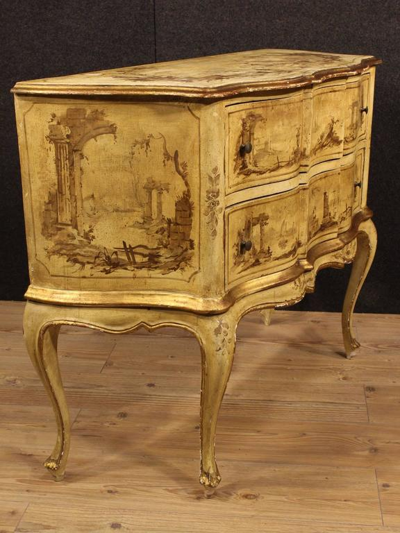 Italian 20th Century Venetian Lacquered, Painted and Gilded Dresser