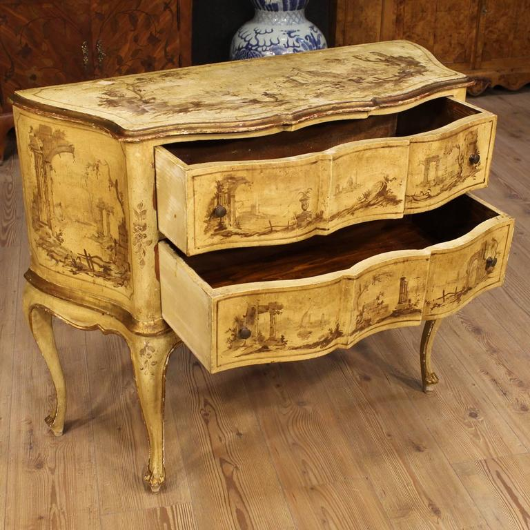 20th Century Venetian Lacquered, Painted and Gilded Dresser 4